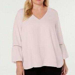 Calvin Klein Plus Blush Pink Blouse Bell Sleeve